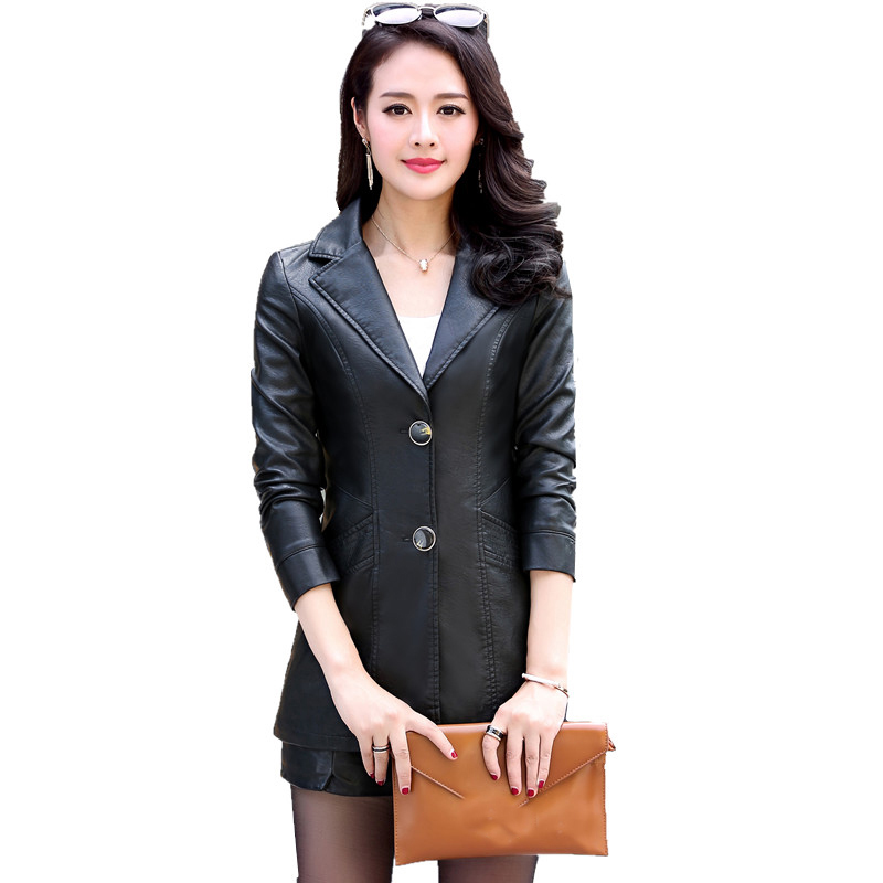 2017 New Autumn Winter Womens Fashion black windbreaker long PU   leather   Jacket With Plus Size coat warm   leather   outerwear QH0853
