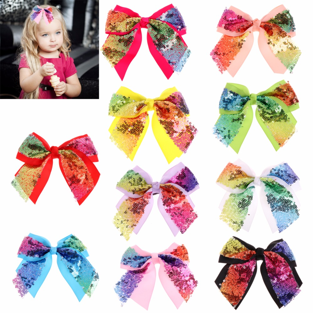 KLV Baby Toddler Kids Girls Glitter Shiny Sequined Bow Bowknot Hair Clip Girl Hairpin New