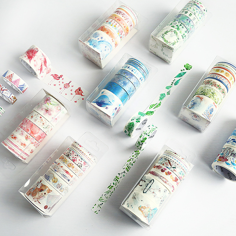 9pcs/pack Creative Ins Style Unicorn Cat Sakura Washi Tape Adhesive Paper Tape DIY Scrapbooking Sticker Label Craft Masking Tape