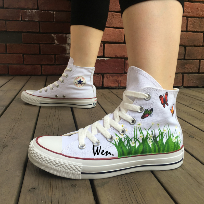 383e991cd14c White Converse Chuck Taylor Women Men Shoes Butterfly Flower Original  Design Hand Painted High Top Sneakers Christmas Gifts-in Skateboarding  Shoes from ...