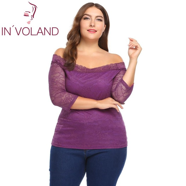24c917f9bb9 IN VOLAND Women T-Shirts Tops Oversized 5XL Sexy Off Shoulder 3 4 Sleeve  Floral Lace Pullover Casual Slim Fit Tshirt Plus Size