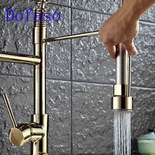 Dofaso brass spring taps luxury kitchen faucet gold hot and cold Water mixer faucets 360 rotate sink Kitchen Faucet