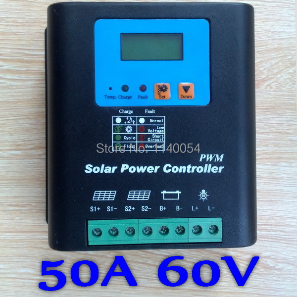 50A 60V Solar Charge Controller, Home Use 60V Battery Regulator 50A for 3000W PV Solar Panels Modules, LED&LCD Display 20a 12 24v solar regulator with remote meter for duo battery charging