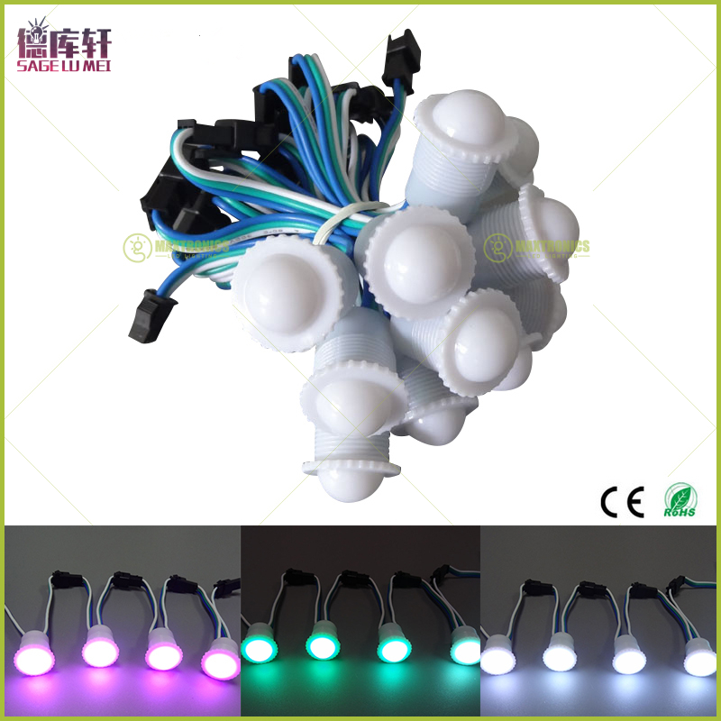 DC5V WS2811 IC 16mm Diameter Transparent /milky Cover 5050 RGB 1 LED Pixels String Digital Color Module Light Waterproof IP68