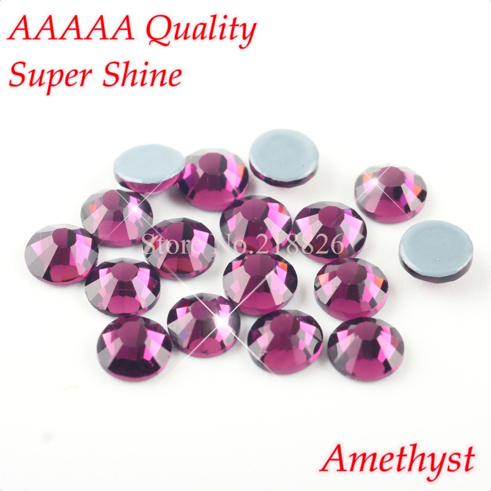 AAAAA Luxury Hotfix Rhinestone Amethyst SS6 SS10 SS16 SS20 Glass Crystals  Flatback Iron On Hot Fix Rhinestones 1440pcs Pack-in Rhinestones from Home  ... 281e2ea7a21e
