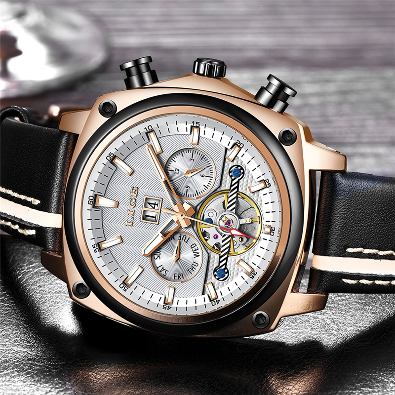 Relogio Masculino 2019 Mens Watches LIGE Top Brand Luxury Automatic Mechanical Watch Men Fashion Business Sport Waterproof Watch in Sports Watches from Watches
