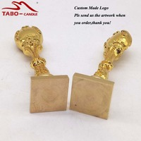 Gold Metal Handle With Custom Design Logo Carved Brass Sealing Wax Stamp For Wedding Invitation Letter