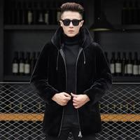 Q7 New Fashion Man Winter Clothes 10% Mnik Fur Coat Man fur Hooded Overcoat long Trench Coat Male Zipper Jacket Coat