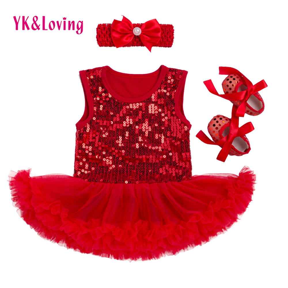 3pcs New Baby Girl Clothing Sets Children Clothing Girls Tutu Romper Dress+Headband+Shoes Baby First Birthday Costumes Z311 new born baby girl clothes leopard 3pcs suit rompers tutu skirt dress headband hat fashion kids infant clothing sets