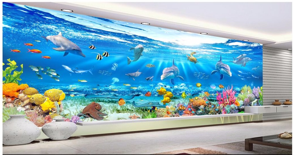 Custom photo 3d wallpaper large undersea world Dolphin fish landscape home decor on a wall 3d wall murals wallpaper for bedroom stylish dolphin pattern 3d wall sticker for home decor