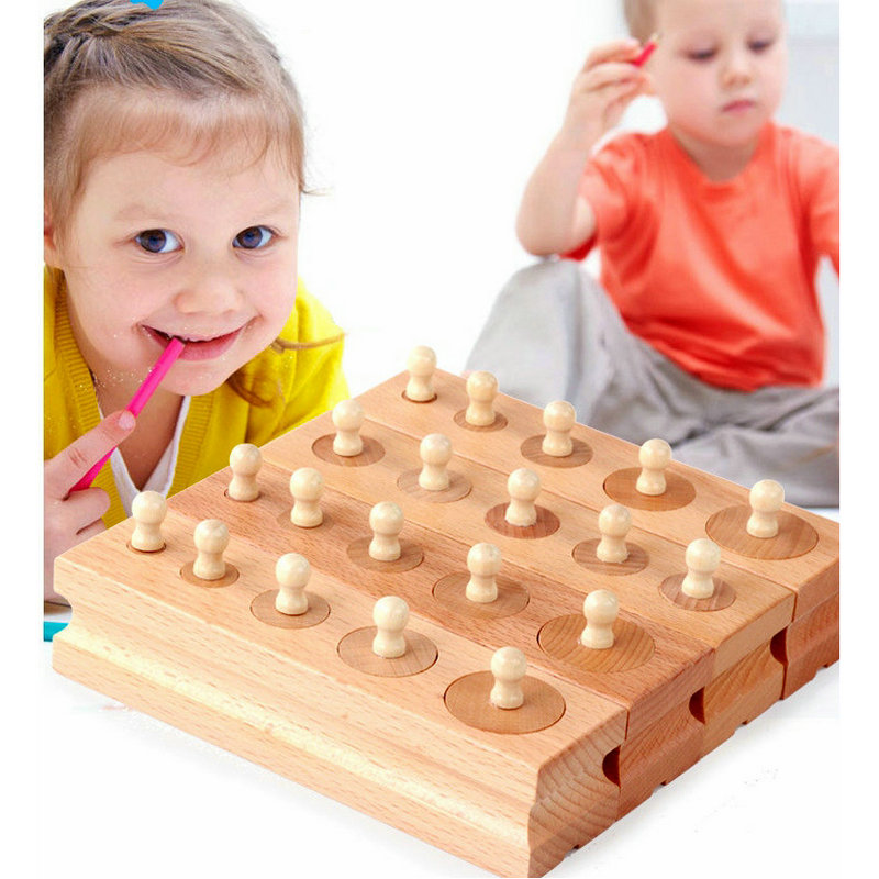 Montessori Socket Cylinder Baby Wooden Toy 2019 New School Educational Supplies/Teaching Resources Kids Wooden Blocks Toys
