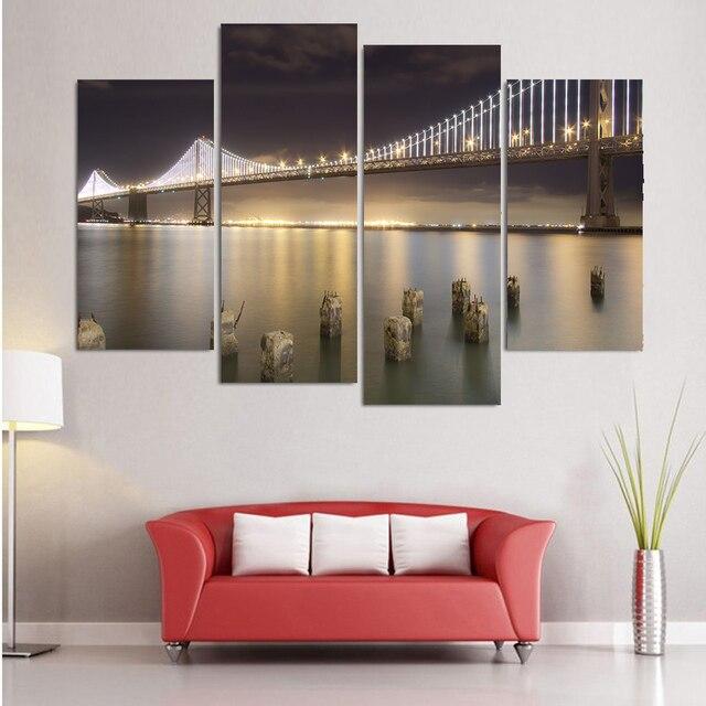 Elegant Modulaire Peinture Moderne Mur Art 4 Panneau San Francisco Pont Bay Imprimé  Image Pour Salon Décor