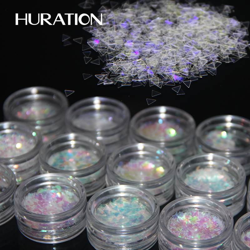 HURATION Cosmetics Pigment Holographic Powder Nail Glitter Powder Gold Sliver Dust Nail Art DIY Decoration for Gel Polishs Nails