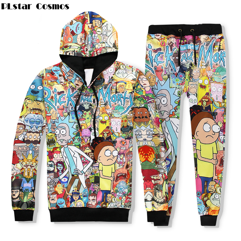 PLstar Cosmos 2017 Hot sale new Fashion Hoodies Rick and Morty Cartoon print Men/Women Hooded sweatshirt+joggers pants Sets