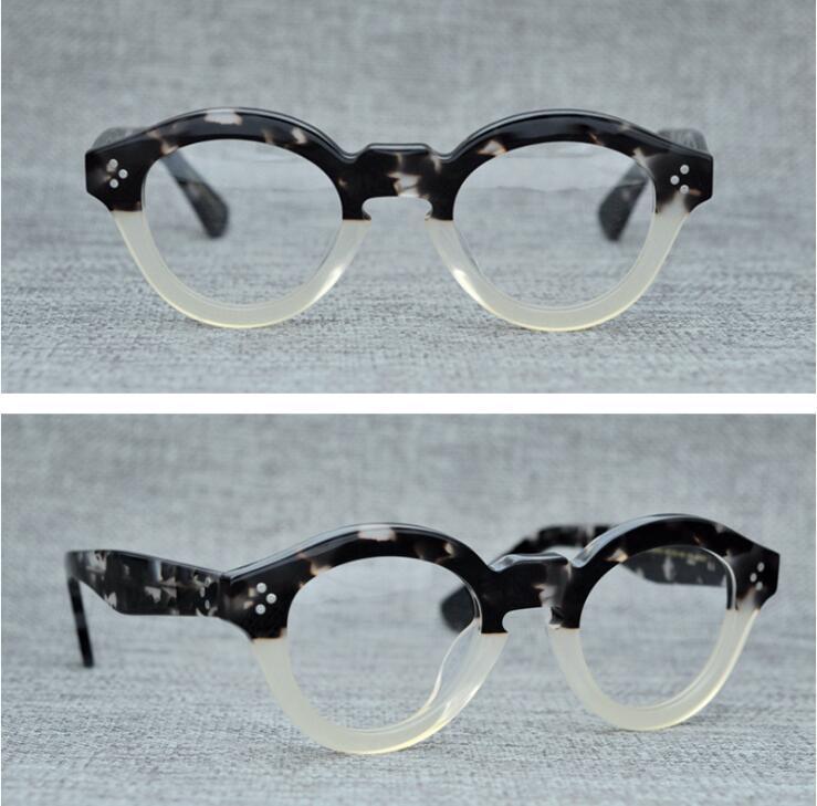 LKK Vintage Myopia eyeglass frame traditional thick frame hand rivet round eyeglass men women frame glasses