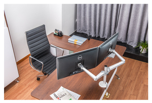 """Image 3 - OA 4S 10 27"""" Double arm dual screen desktop mount monitor holder table stand pad desk mount stand monitor bracket shelf"""