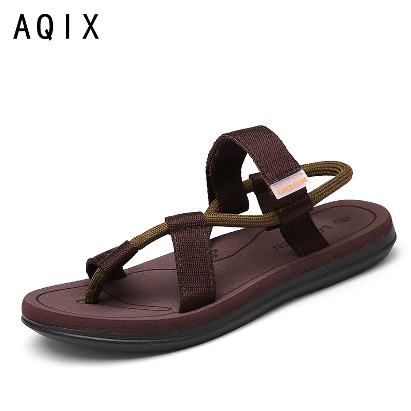 New Summer Beach shoes men Sandals roma leisure breathable clip toe is cool procrastinate Sandal male Black Gray Brown 39-45