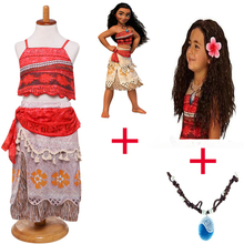 цены на 2018 Summer 3pcs/lot Moana Dress for girls Moana Vaiana Princess Dresses Kids Party Cosplay Costumes With Wig Children Clothing  в интернет-магазинах