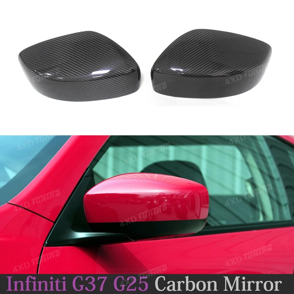 For Infiniti Coupe & Sedan G Series G37 G25 Carbon Fiber Rear Side View Mirror Cover Caps Add on Style 2009 2010 2011 2013 2014 spl rkb z34 fks rear knuckle monoball bushing set nissan 370z z34 09 infiniti g37 08 g35 07 08 sedan v36