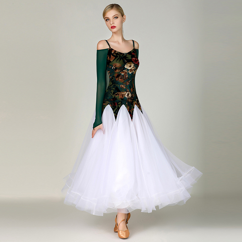 Costume Bal Salle Tenue De Femmes Blanc Moderne Danse My795 Soirée Vêtements Yilinfeier Tango Fête Robe Dames Valse PiXuOkZ