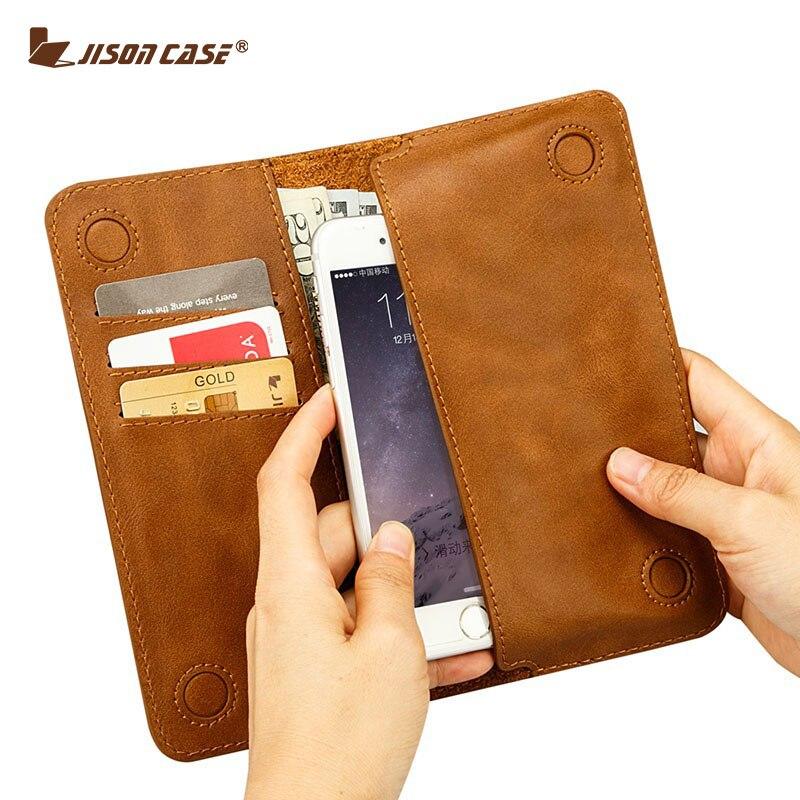 """imágenes para Jisoncase case para iphone 6 6s 7 4.7 """"Bolsa de La carpeta para el iphone 6 más 6 s plus 5.5"""" pu ranura para tarjeta de cuero de lujo del teléfono bolsos y estuches"""