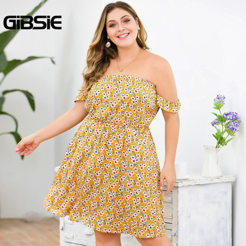 GIBSIE Plus Size Floral Print Boho Off Shoulder Dress Women Summer Beach Style Holiday Dress Ladies High Waist A Line Dress