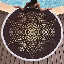 Mandala Flower Printed Round Beach Towel Tassel Microfiber Summer Large 150cm Bath Brown Yoga Mat Toalla Playa