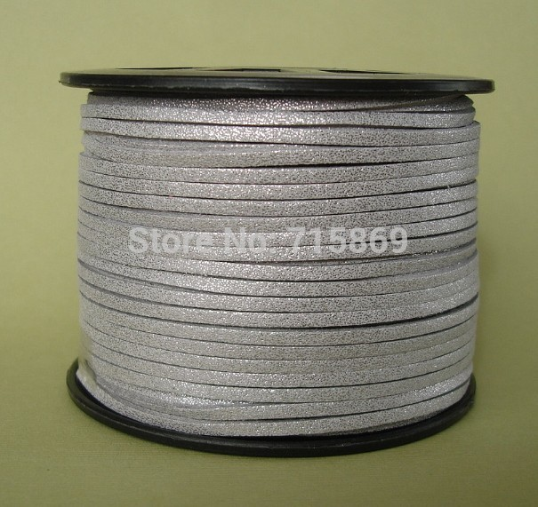 Free Shipp Metallic Silver 3mm *1.5mm 10mters Flat Faux Suede Leather Cord for Jewellery Making and Crafts Beads