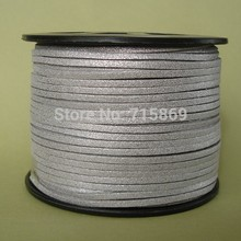 Free Shipp Metallic Silver 3mm *1.5mm 10mters Flat Faux Suede Leather Cord for Jewellery