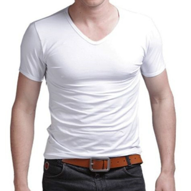 Fashion Summer Men Cotton   T     shirt   casual short sleeve V-neck   T  -  shirts   Black White Plus Size M-XL