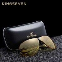 KINGSEVEN HD Nachtsicht Gläser Polarisierte Männer Klassische Aluminium Magnesium Gelb Objektiv Sonnenbrille für Fahr Sicher Gafas De Sol