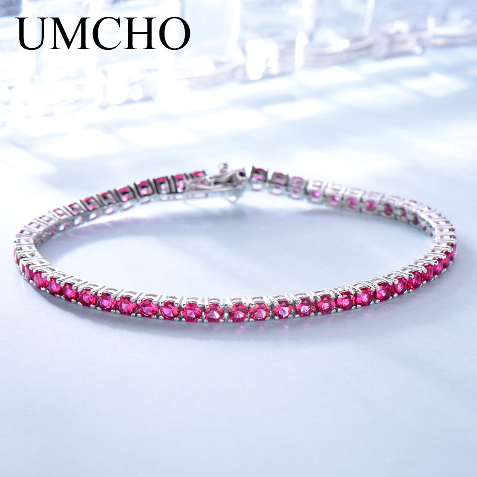 UMCHO Created Nano Rich Ruby Gemstone Jewelry Real 925 Sterling Silver Bracelets & Bangles Romantic For Women Birthday Gifts