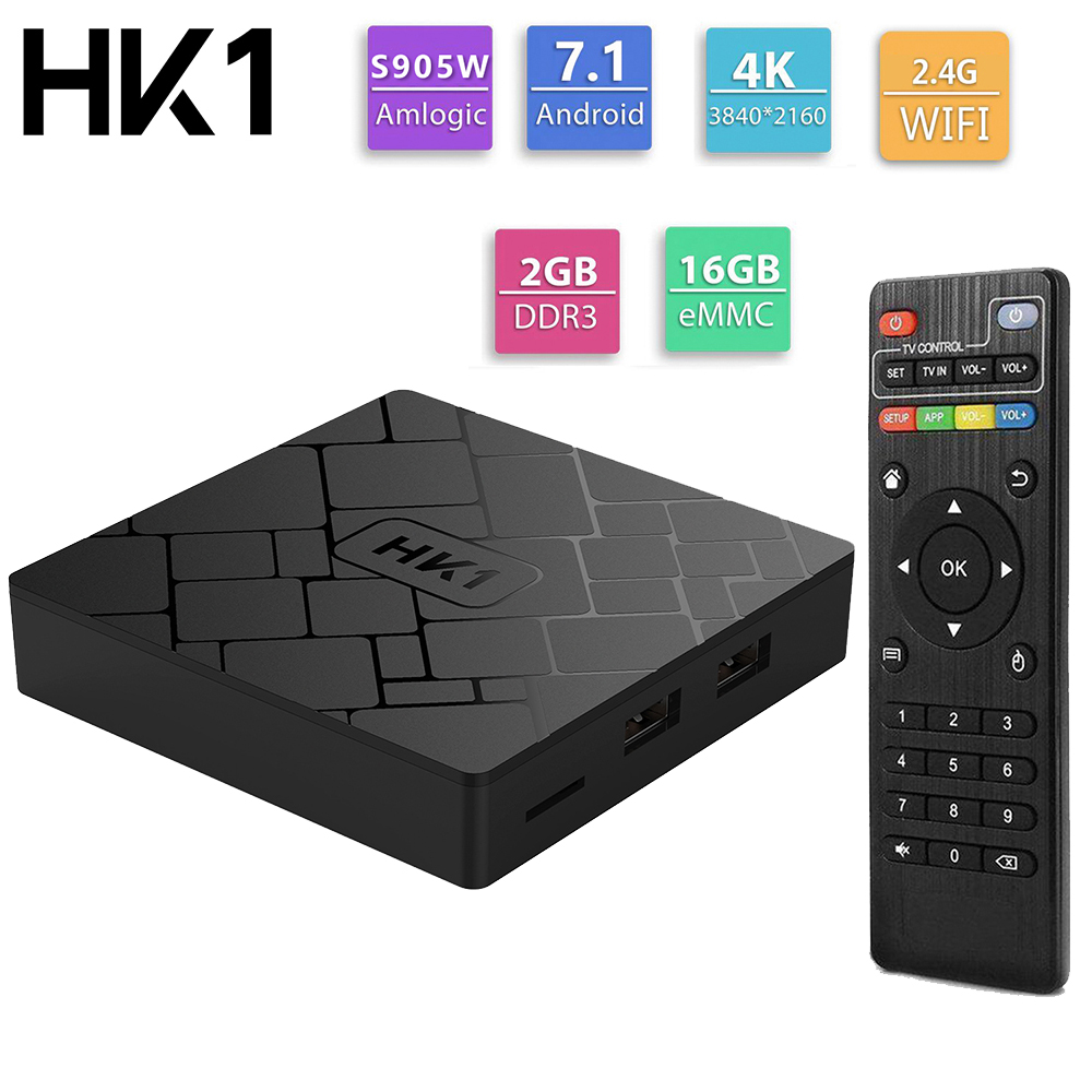 HK1 Android 7.1 Smart TV BOX 2GB 16GB Amlogic S905W Quad Core WIFI H.265 HEVC 4K 3D Set Top Box Media Player PK X96 MiniHK1 Android 7.1 Smart TV BOX 2GB 16GB Amlogic S905W Quad Core WIFI H.265 HEVC 4K 3D Set Top Box Media Player PK X96 Mini