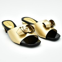 Shoes gold sandal lady low heel sweet design gold shoes women slippers with high quality gold flip flops nice shoes SS007 5