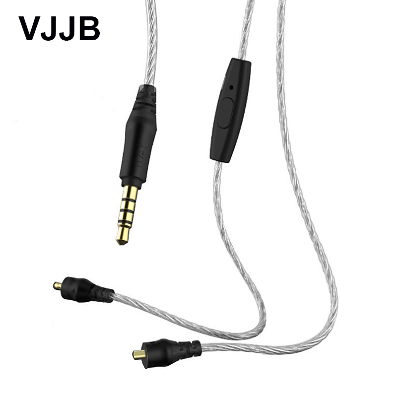 Original VJJB N1 Upgrade Cable 3.5mm Silver Plated With Mic or without mic Cables For VJJB N1 Earphones CTAI standard 3.5mm plug цена