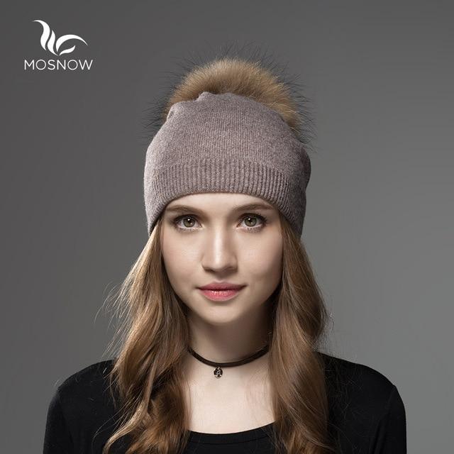 Mosnow Hat Female Women Raccoon Wool Fox Fur Pom Poms Warm Knitted Casual High Quality Vogue Winter Hats Caps Skullies Beanies