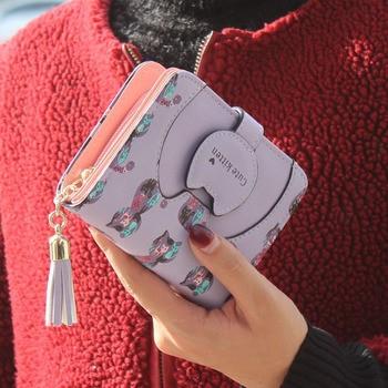 15PCS / LOT  Lovely Cute Cat Women Girls Wallet Tassel Printing PU Leather Ladies Wallet Coin Purse Female Card Holder Money Bag