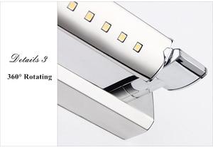 Image 5 - 送料無料 5 ワットledウォールライトSMD5050 ステンレス鋼ledミラーライトランプAC110V/220v浴室ミラーライト