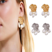 Fashion Punk Shiny Alloy Imitation Pearl Beads Geometric Irregular Big Dangle Earrings Women Female Girl