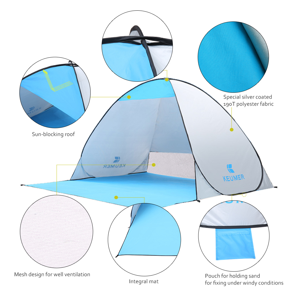 Automatic Camping Tent Ship From RU Beach Tent 2 Persons Tent Instant Pop Up Open Anti UV Awning Tents Outdoor Sunshelter 3