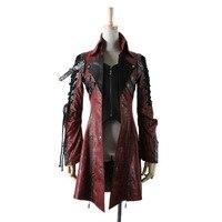 Для женщин стимпанк длинное пальто Тренч в стиле панк кожаная байкерская куртка рок Стенд воротник зима осень узкий галстук с длинным рукав