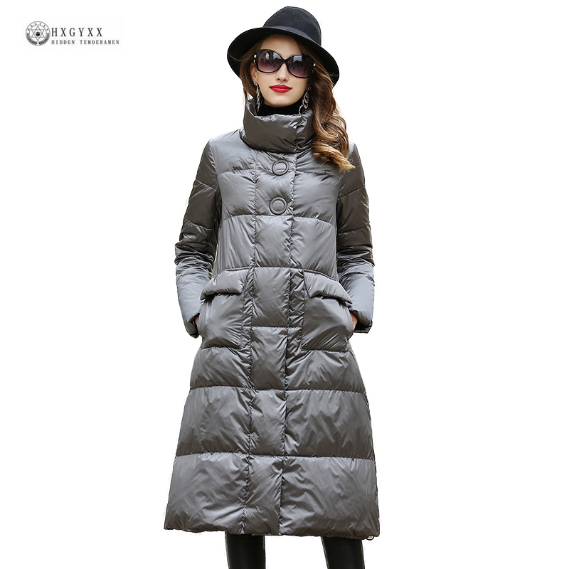 2018 New Women Long Down Jackets Black Grey Stand Collar Winter Coat Female Outerwear High Quality Parka Duck Down Coats OK1320