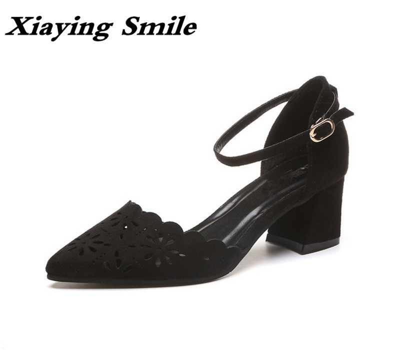 Xiaying Smile Woman Sandals Summer Square Cover Heel Closed Toe Woman Pumps Buckle Strap Fashion Casual Hollow Flock Women Shoes xiaying smile summer woman sandals fashion women pumps square cover heel buckle strap bling casual concise student women shoes