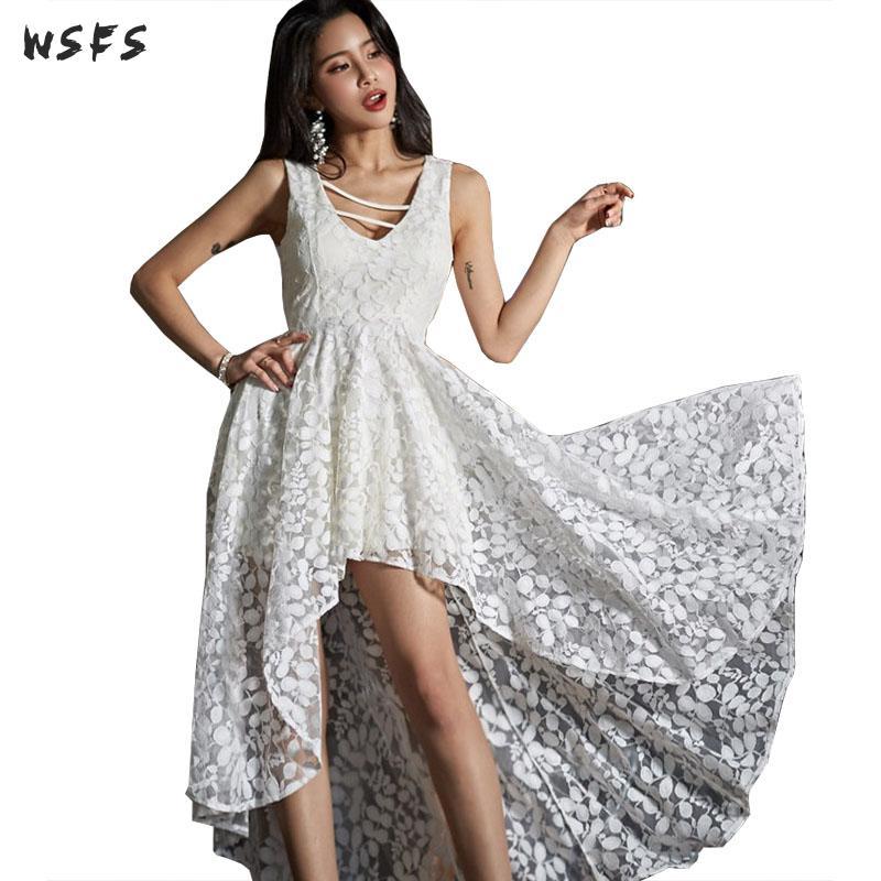 0966454112b Летние кружевные платья Белый с v-образным вырезом