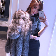 Women's Real Fur Genuine Full Pelt Silver Fox Fur Winter Long Outwear Natural Furs Parkas Flufly Coats Female Jacket BF-C0015