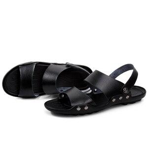 Image 5 - PLUS ขนาดชายหนังรองเท้าแตะแฟชั่น Breathable ชายรองเท้าฤดูร้อนผู้ชายรองเท้าชายหาดรองเท้าแตะชายหาดรองเท้าแตะ Dropshipping