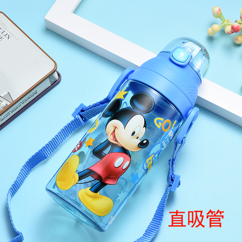 350-500ML Disney Baby Straw Bottle Water Cup Boys Girls Learning Drink Water Strap Handle Cute Babies Baby Mickey Minnie Cup Karachi