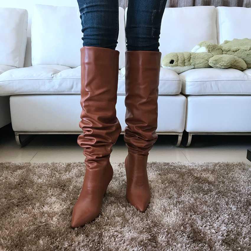 9 เซนติเมตรรองเท้าส้นสูงต้นขาสูงรองเท้ารองเท้าผู้หญิง Faux ขนสัตว์ฤดูหนาวหิมะรองเท้าผู้หญิงสีดำหนังเข่ารองเท้ายาวฤดูหนาว boot