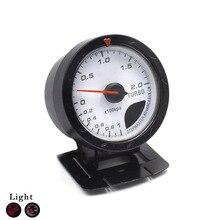 Freeshipping! ladedruckanzeige 60 MM ladedruckanzeige Weißes Gesicht mit Red & White Beleuchtung/auto auto gauge/drehzahlmesser/auto meter/auto styling