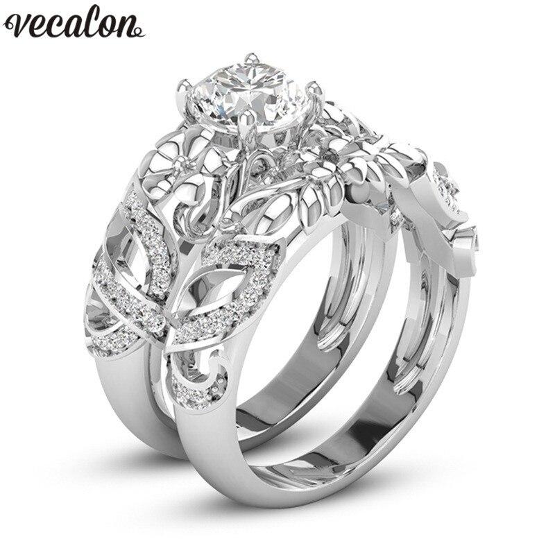 Vecalon Blumenform Paar ring silber Farbe AAAAA cz Verlobung hochzeit band ringe Für frauen männer Dropshipping Schmuck